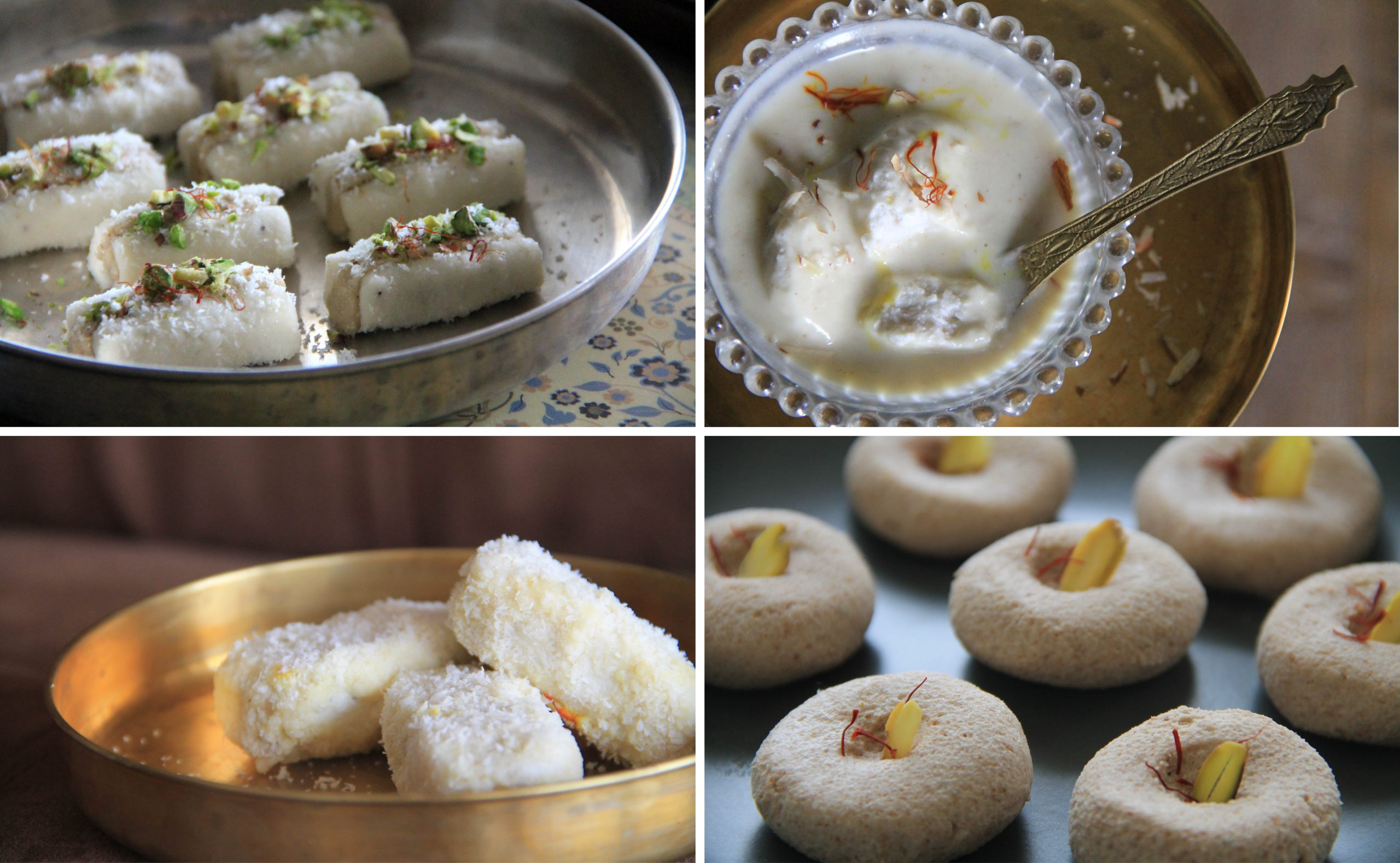 Vegan Indian Milk Sweets including dairy-free and soy-free rasmalai, sandesh, and chumchum.